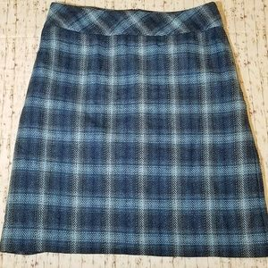 Talbots Wool Blend Teal Plaid Pencil Skirt 12 EUC